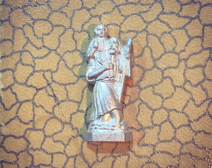 SAINT CHRISTOPHER STATUE Vintage Christopher Pocket Statue Vintage Religious St. Christopher Travel Protection Tiny Metal Czechoslovakia