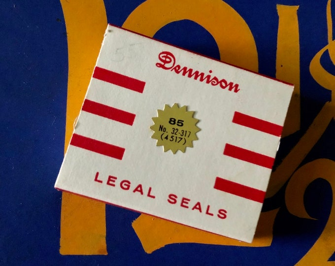 1pkg VINTAGE DENNISON SEALS Legal Gummed Tiny Gold Legal Seals Original Box Notary Labels Stickers Full Box 32-317