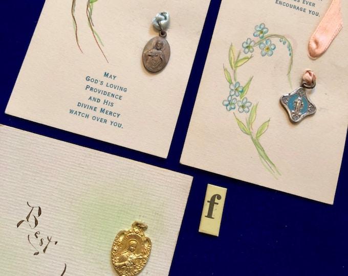 3pcs VINTAGE RELIGIOUS LOT Precious Keepsakes Estate Find St. Theresa Medallion Miraculous Medal Sacpular Charm Catholic School Lot F