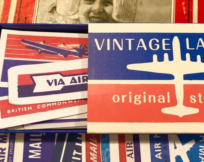 60pcs AIR MAIL LABELS International & Domestic Vintage Style Mail Stickers Seals   Air Mail Seals Paper Ephemera Stationery Supply Lot