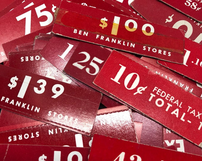 10pcs VINTAGE PRICE TAGS Ben Franklin Dime Store Genuine Paper Ephemera