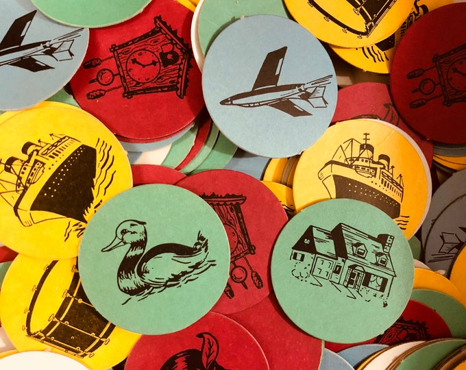 10pcs VINTAGE GAME TOKENS Colorful Old Paper Ephemera Lot Duck House Ship Clock Plane Apple Kite Drum Numbers Lucky Dip