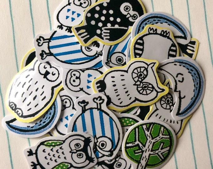 35pcs MINIATURE OWL STICKERS Tiny Seals Embellishments Mail Art Supplies Labels Scrapbooking Lot