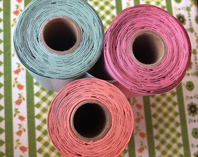 30pcs VINTAGE GUMMED LABELS Cherry Salmon Mint Retro Colors Long Blank Labels Seals Stickers Lot