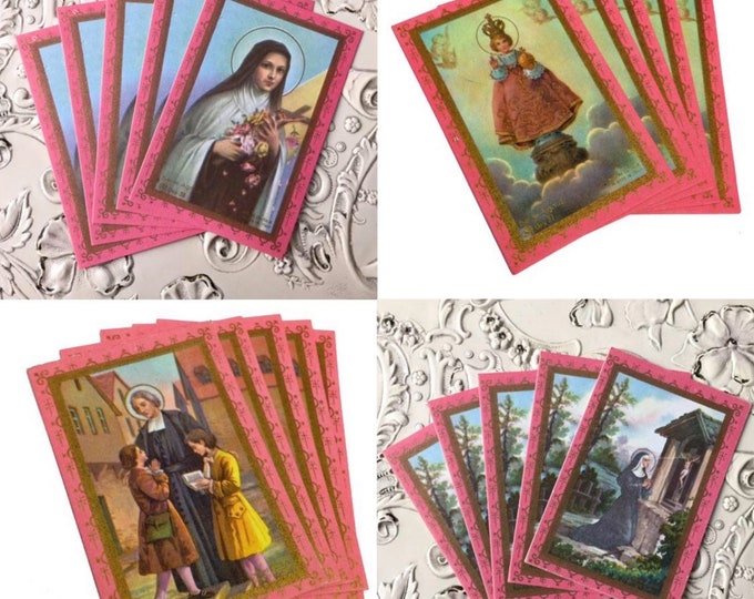 5pcs VINTAGE PRAYER CARDS Religious Paper Ephemera St. Theresa Infant of Prague Cure D'Ars St. Rita Old Stock Printed in Italy Your Choice