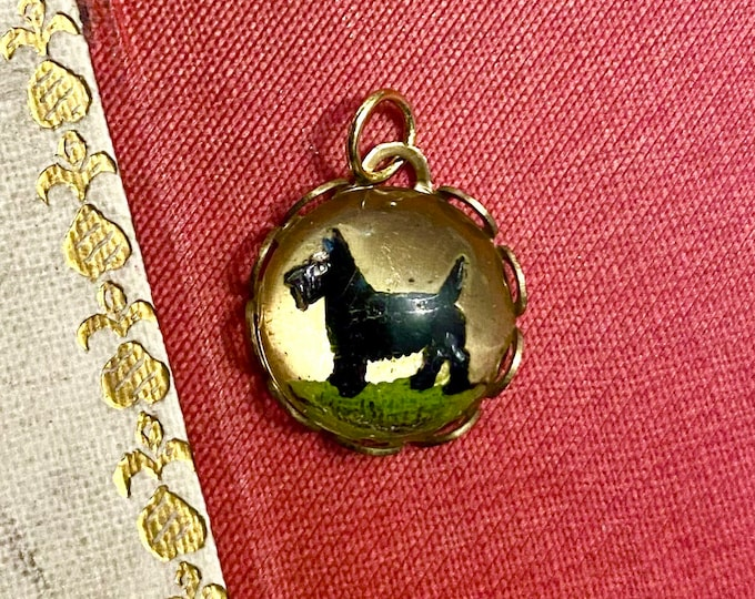 SCOTTIE INTAGLIO CHARM Vintage Tiny Glass Bubble Pendant Brass Setting Miniature Dog Jewelry