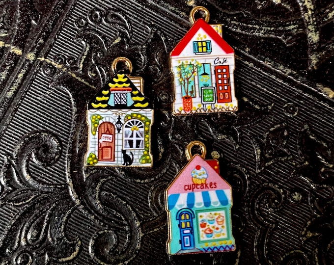 1pc TINY HOUSE CHARM Enameled Mini Cottages House Cafe Bakery Pendant Colorful Fairy Abodes Terrarium Diorama Jewelry Miniature