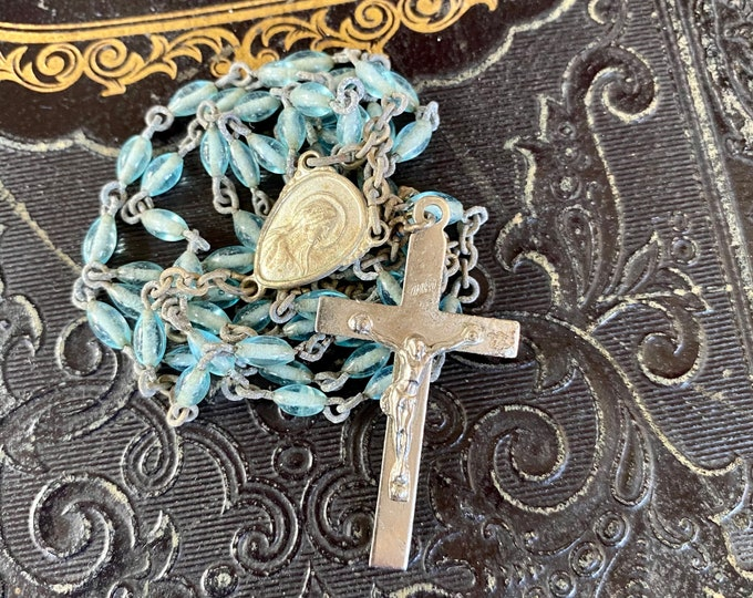 """VINTAGE GLASS ROSARY Light Blue Beads Delicate Catholic Old Devotional Complete 17"""""""