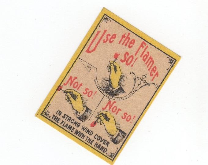1890s Antique TINY FLAMER Matchbox Label