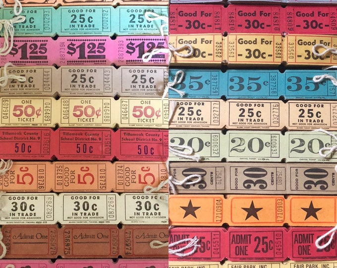 VINTAGE CARNIVAL TICKETS Beautiful Colors & Limited Quantities Altered Art Mixed Media Collage Genuine Ephemera Limited Stock Your Pick