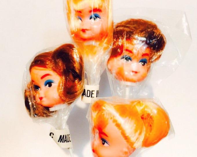 VINTAGE DOLL HEAD Miniature Plastic Fashion Doll Parts Retro Hairstyles + Eyeliner