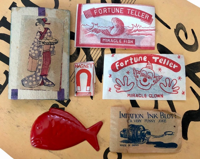 6pc JAPANESE PENNY TOYS Instant Collection Vintage Gags Vintage Jokes Vintage Fortune Telling Fish Clown Magnet Japan Toy Lot