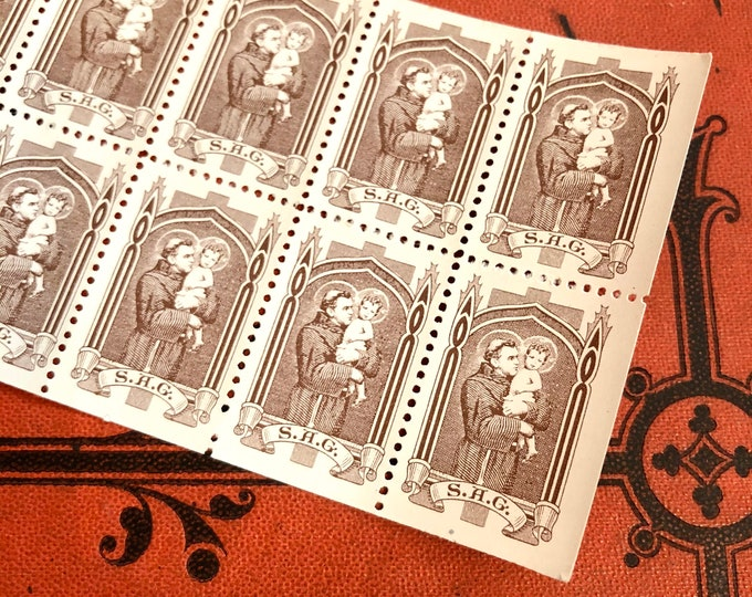 10pcs SAINT ANTHONY SEALS Vintage Religious Stamps St. Anthony Guild S.A.G. Franciscan Monastery New Jersey Catholic Letter Blessing