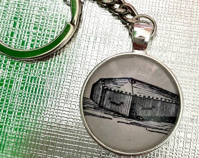 VICTORIAN CASKET KEYCHAIN Coffin Burial Funeral Ephemera Under Glass Metal Key Fob