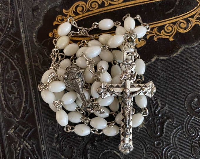 VINTAGE PEARLY ROSARY Plastic Beads Catholic Communion Devotional France 20""