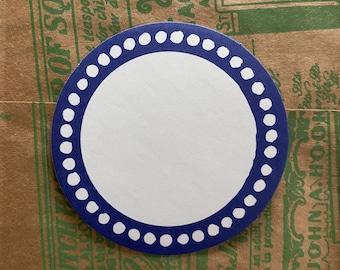 "10pcs BORDERED BLANK LABELS Round Circle Seals Blue Border Self-Adhesive Stickers Bulk 2-1/8"""