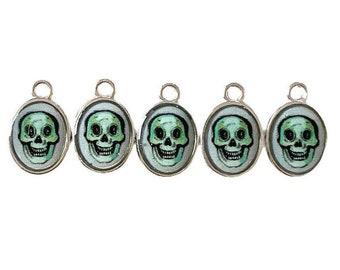 5pcs TINY HALLOWEEN CHARMS Mini Skull Charm Momento Mori Custom Made Vintage Image Skeleton Tiny Pendant Medallions Lot