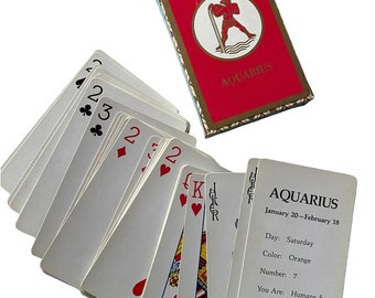 ⱽᴵᴺᵀᴬᴳᴱ AQUARIUS CARD DECK Vintage Old Horoscope Playing Cards Zodiac Astrology Red Pack 1/20-2/18