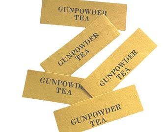 ⱽᴵᴺᵀᴬᴳᴱ 5pcs GUNPOWDER TEA LABELS Tiny Old Paper Seals Miniature Pantry Store Display Ephemera Lot