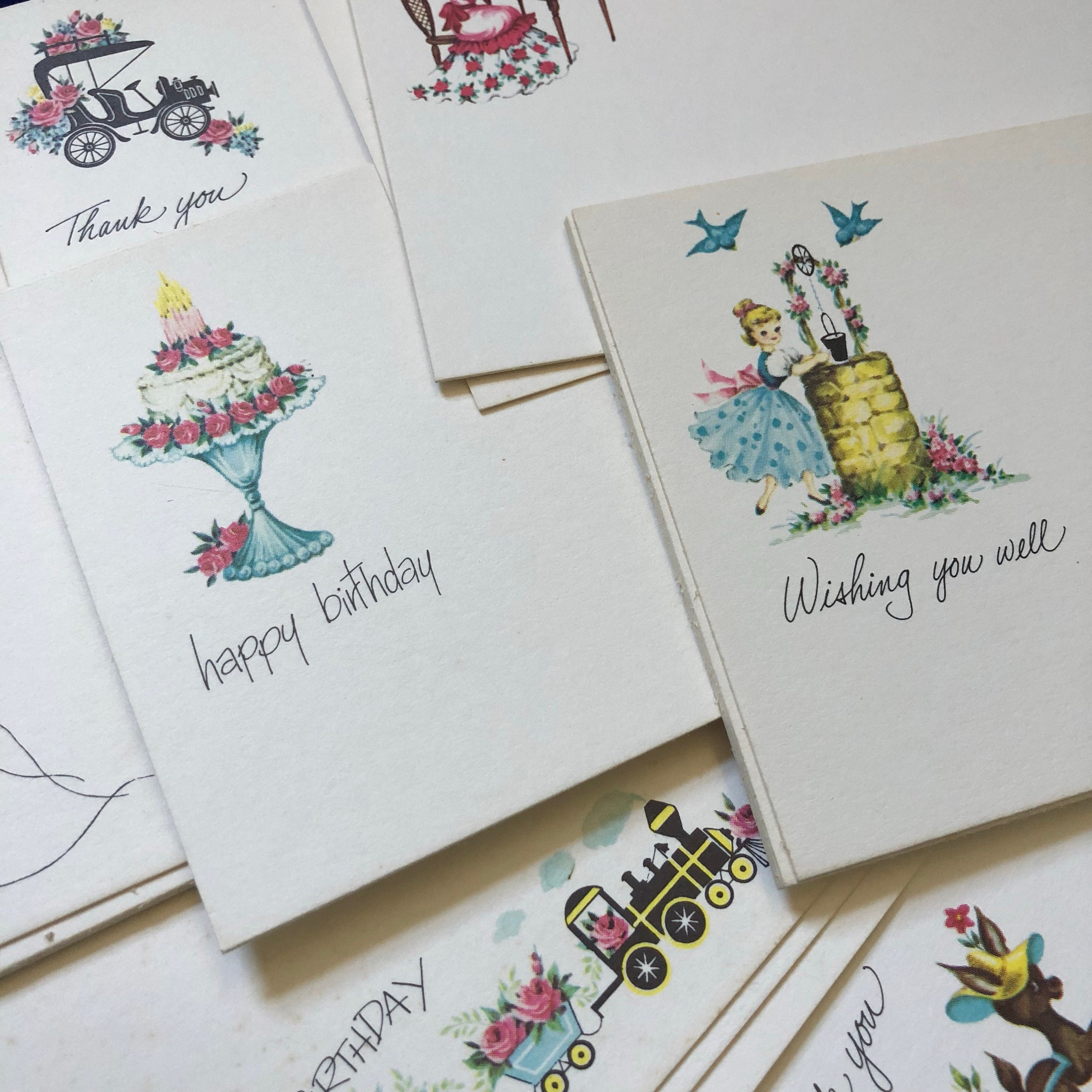 10pcs Post A Notes Vintage Retro Illustrated Flat Greeting Cards Lot