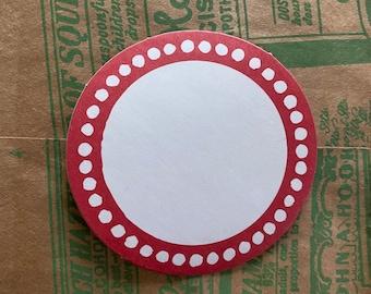 "10pcs BORDERED BLANK LABELS Round Circle Red Border Self-Adhesive Seals Stickers Bulk 2-1/8"""