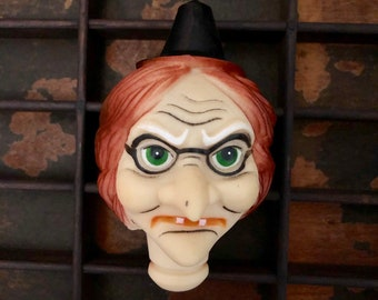 """ⱽᴵᴺᵀᴬᴳᴱ 1pc WITCH DOLL HEAD 4""""  Halloween Doll Head Crafting Supplies Plastic Doll Face"""