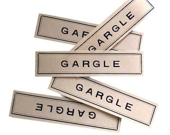 ⱽᴵᴺᵀᴬᴳᴱ 5pcs GARGLE PHARMACY LABELS Old Paper Seals Drug Store Display Chemist Ephemera Lot