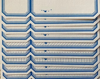 20pcs RETRO BLANK LABELS Long Patterned Blue Border Self-Adhesive Seals Stickers Bulk Ornate Perforated Design