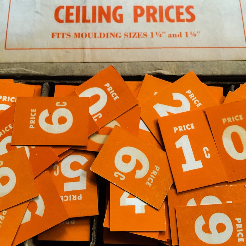 WWII PRICE TAGS Vintage Paper Ephemera Grocery Signage Ceiling Prices
