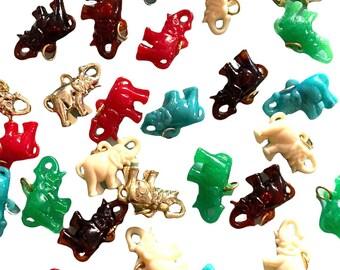 ⱽᴵᴺᵀᴬᴳᴱ 1pc PLASTIC ELEPHANT CHARM Good Luck Trunk Up Vending Prizes Gum Ball Trinket Miniature Your Pick