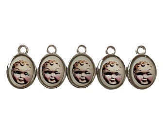 5pcs DOLL FACE CHARMS Tiny Custom Made Vintage Altered Toy Images Spooky Retro Miniature Pendant Medallions Sylvia