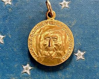ⱽᴵᴺᵀᴬᴳᴱ HOLY FACE MEDAL Shroud of Turin Medallion Religious Pendant Latin Jesus Gold