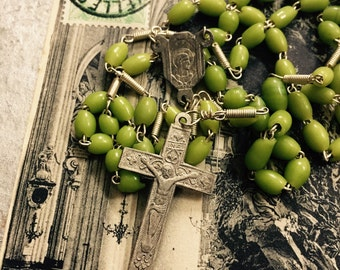 HANDBLOWN GLASS ROSARY Vintage Religious Aged Olive Green