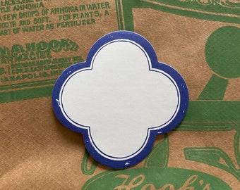 "10pcs BORDERED BLANK LABELS Flower Scallop Stickers Blue Border Self-Adhesive Seals Bulk 2-1/8"""