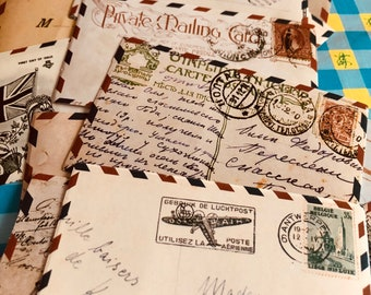 24pcs AIR MAIL STICKERS Vintage Domestic and International Mail Envelope Labels