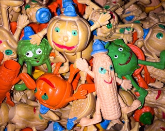 5pcs 70s VEGGIE PEOPLE ERASERS Anthropomorphic Pencil Toppers