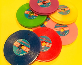 2pcs PLASTIC RECORD CHARMS Vintage Snappy Disco Kitsch