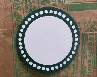 "10pcs BORDERED BLANK LABELS Round Circle Seals Green Border Self-Adhesive Stickers Bulk 2-1/8"""