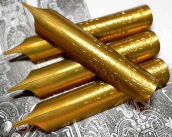 5pcs 1900s LONDON PEN NIBS Golden Antique