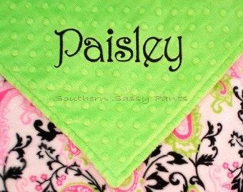 Baby Girl Minky Blanket, Personalized Paisley Blanket for Baby Girls - Monogram Gift for Newborn Baby Girls, Stroller Size, Last One 30x40