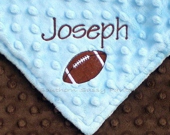 Monogram Baby Boy Minky Blanket - Football or Any Sport Blanket- Personalize For Baby Boy,  Custom Embroidery Options Available - Any Colors