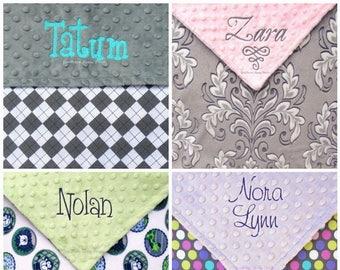 Custom Crib Blanket, Personalized Minky Blanket , Monogrammed Blanket, For Baby Boy , For Baby Girl Nursery Bedding , 36x52 Design Your Own