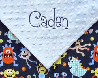 Baby Boy Baby Blanket , Personalized Toddler Blankets - Minky and Monsters Blanket for Toddlers - Embroidered - 36x40
