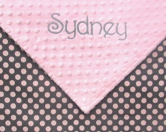 Customized Baby Girl Blanket or Lovie- Personalised Gift for Newborn Girls- Gray and Pink Polka Dot, Pink Minky Security Blanky, Infant Gift