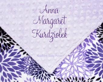 Monogrammed Minky Baby Blanket, Lavender and Purple Baby Girl Blankets, Custom Personalized Lilac Flower Blanket for Girls, Name on Blanket