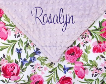 Floral Baby Blanket with Name - Watercolor Roses - Personalized Pink Minky Baby Blanket - Monogram Purple Blanket - Baby Girl Blanket- 30x36