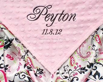 Baby Girl Blanket, Satin Baby Blanket, Minky and Satin Baby Blanket, for Baby Girls, Personalized Blanket with Name, Monogrammed Gift
