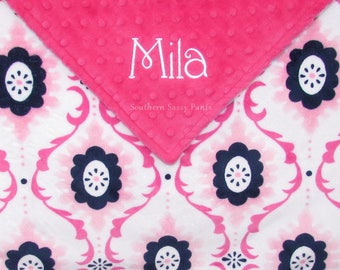Personalized Blanket with Name, Baby Girl Blanket, Plush Baby Blanket, Monogram Minky Blanket, Newborn Baby, Paris Pink and Navy Blue
