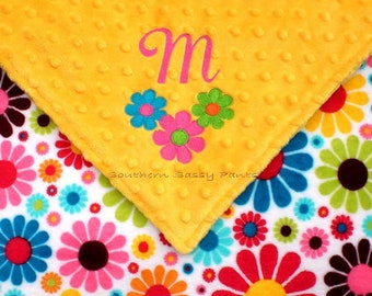 Lovie Baby Blanket for Girls, Monogrammed Security Blankie, Personalized Little Lovey for Babies and Toddlers- Flower Child Minky - Limited