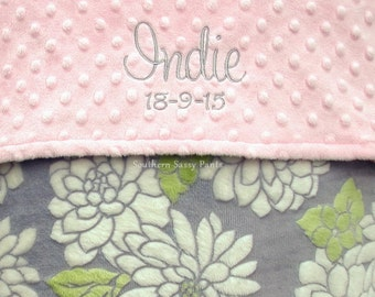 Baby Girl Gift - Personalized Baby Security Blanket, Baby Girl - Gray Floral Minky , Choose Your Minky Dot Color - Limited Small Lovie 18x18